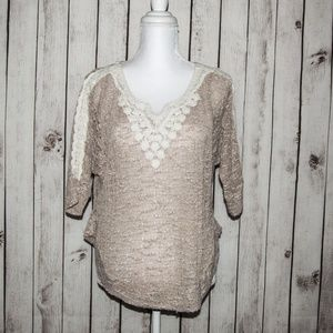 Anthropologie Meadow Rue Mesh Knit Blouse Top